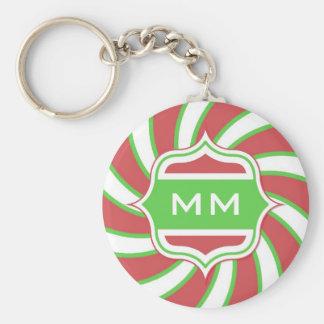 Christmas Monogram Retro Spiral Green Red Basic Round Button Key Ring