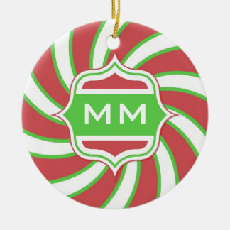 Christmas Monogram Retro Spiral Green Red Christmas Ornament