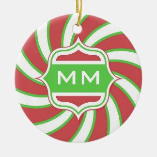 Christmas Monogram Retro Spiral Green Red Round Ceramic Decoration