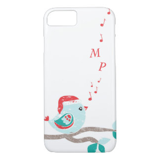 Christmas Monongram Songbird in Santa Hat iPhone 7 Case