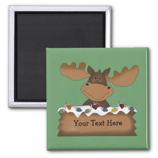 Christmas Moose (customisable) Square Magnet