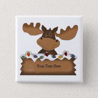 Christmas Moose (customizable) 15 Cm Square Badge