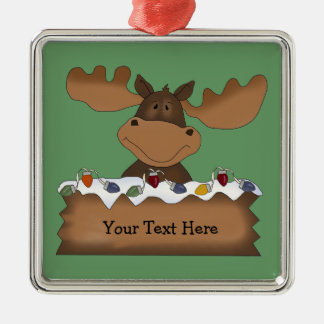 Christmas Moose (customizable) Silver-Colored Square Decoration