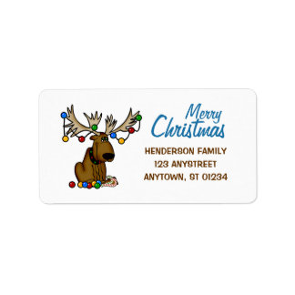 Christmas Moose Label