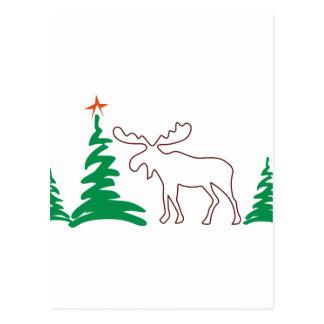 Christmas Moose Outline Postcard