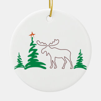 Christmas Moose Outline Round Ceramic Decoration