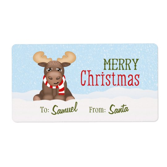 Christmas Moose Personalised Gift Tags / Labels
