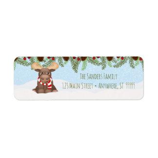 Christmas Moose Return Address Label