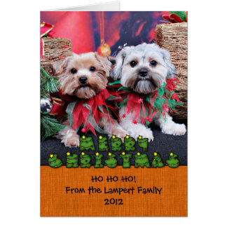 Christmas - Morkie - Jackie and Tabby Note Card