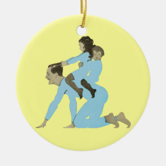 Christmas Morning Father Children Playing Vintage Christmas Ornament