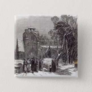 Christmas morning: Going to Church 15 Cm Square Badge