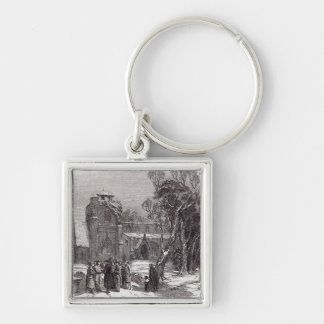 Christmas morning: Going to Church Silver-Colored Square Key Ring