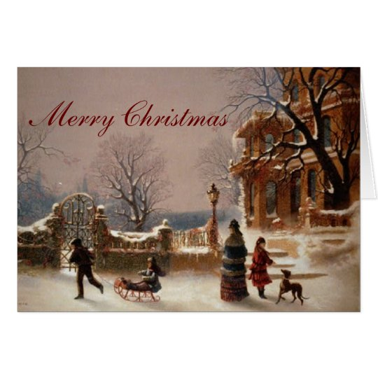 Christmas Morning Snow Vintage Card