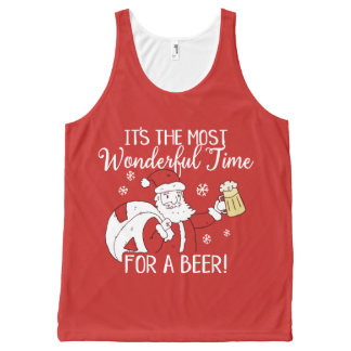 Christmas Most Wonderful Time for a Beer Santa All-Over Print Tank Top