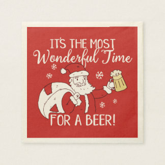 Christmas Most Wonderful Time for a Beer Santa Paper Napkin
