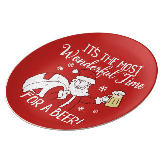 Christmas Most Wonderful Time for a Beer Santa Plate