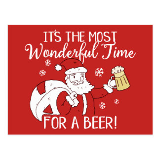 Christmas Most Wonderful Time for a Beer Santa Postcard
