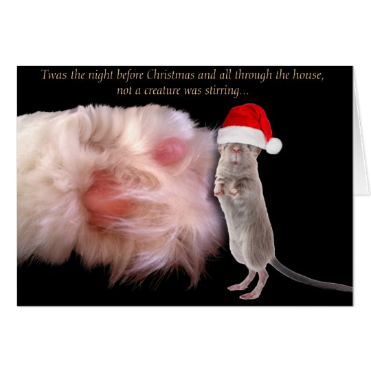 Christmas Mouse and Cat Paw Greeting Card