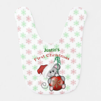 Christmas Mouse, Baby's First Christmas Baby Bibs