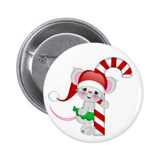 Christmas Mouse Candy Cane 6 Cm Round Badge