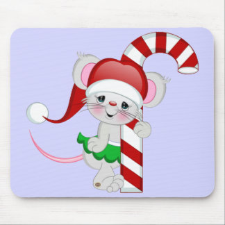 Christmas Mouse Candy Cane Mouse Mat