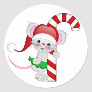 Christmas Mouse Candy Cane Round Sticker