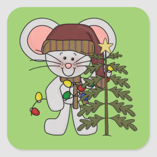 Christmas Mouse Decorating Tree Sticker