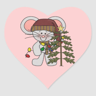 Christmas Mouse Decorating Tree Heart Stickers