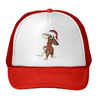 Christmas Mouse in Red Mesh Hats