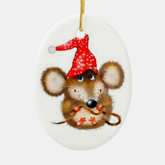 Christmas Mouse Ornament - Cute Mouse in Santa Hat