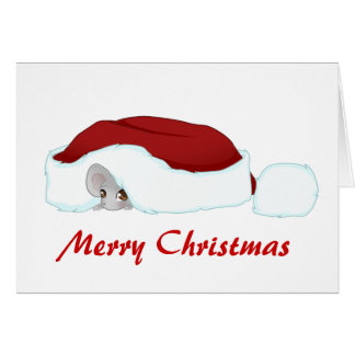 Christmas mouse under the hat card