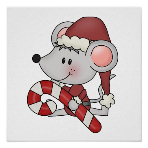 Christmas Mouse With Candy Cane Print