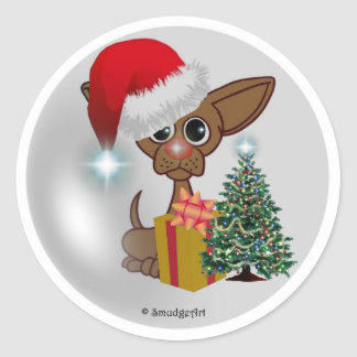 Christmas Mousey Dog Round Sticker