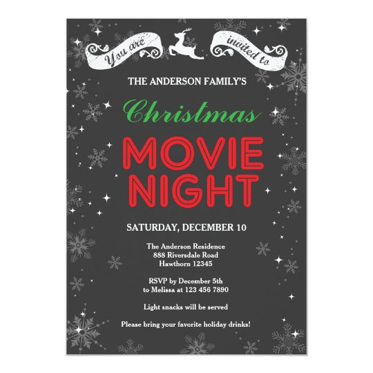 Christmas Movie Night Invitation, Christmas Movie Card