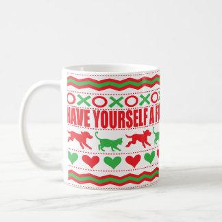 """Christmas Mug 11 oz. """"Cat Dog Mug Furry Christmas"""""""