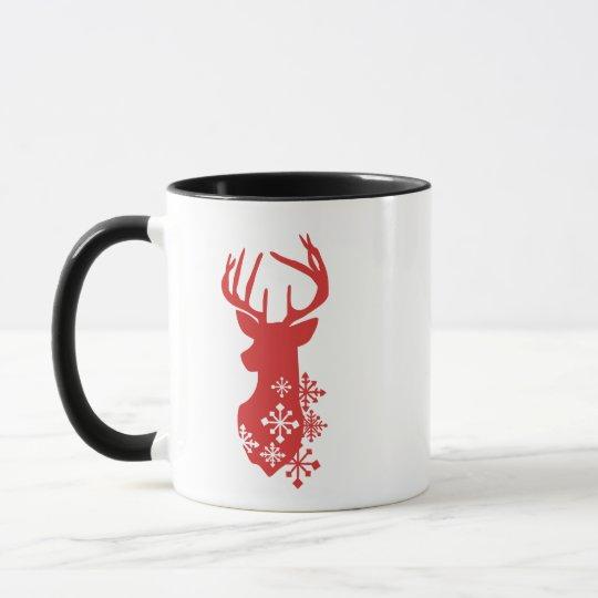Christmas Mug with Snowflakes on Reindeer