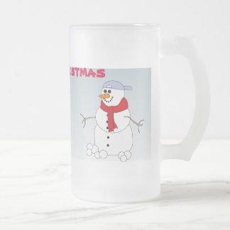 Christmas Mug with Snowmen Glass Beer Mugs