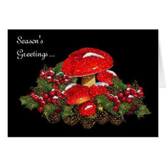 Christmas Mushrooms on Black, Snow, Holly, Pine Greeting Card