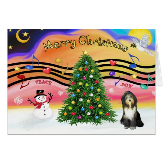 Christmas Music 2 - Bearded Collie 9 Card