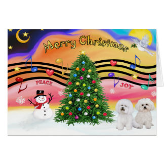Christmas Music 2 - Bichon Frise (two) Card