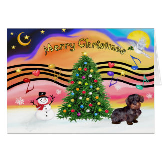 Christmas Music 2 - Dachshund (wire haired-brown) Card