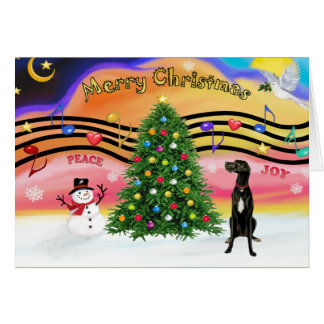 Christmas Music 2 - Great Dane (black uncropped) Greeting Cards