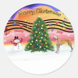 Christmas Music 2 - Greyhound - red Classic Round Sticker