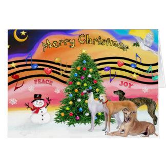 Christmas Music 2 - Greyhounds (four) Card