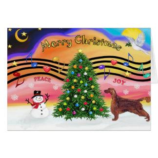 Christmas Music 2 - Irish Setter Greeting Card
