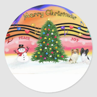 Christmas Music 2 - Papillons (two) Round Sticker