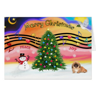 Christmas Music 2 - Pekingese (red) Card