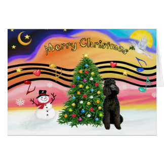 Christmas Music 2-Poodle-Black Standard Greeting Card