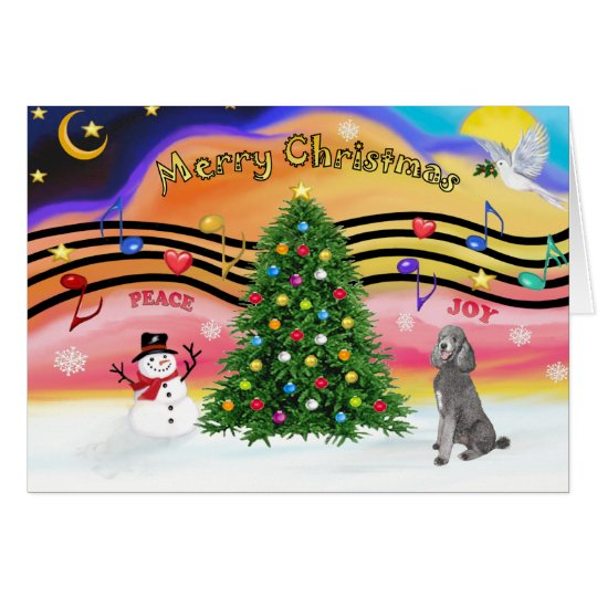 Christmas Music 2 - Poodle (Silver Standard) Card
