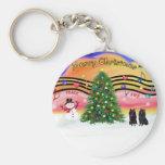 Christmas Music 2 - Schipperke (two) Basic Round Button Key Ring